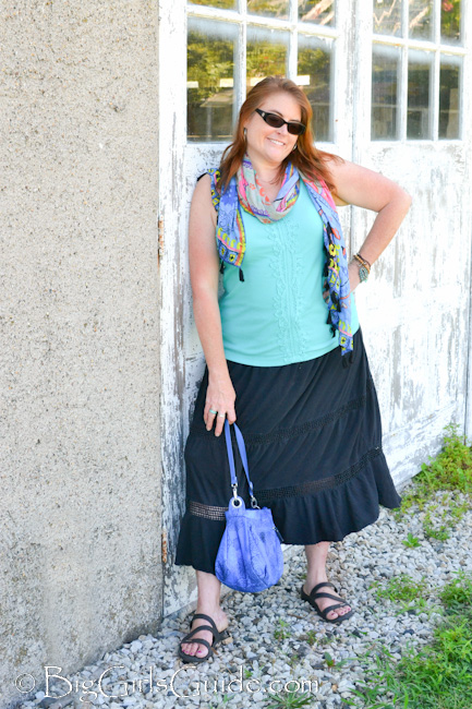 Plus Size Fashion Over 40 Boho chic Great way to wear boho for a women over 40. My what I wore plus size fashion Blogger Sherry Aikens Biggirlsguide.com. #OOTD